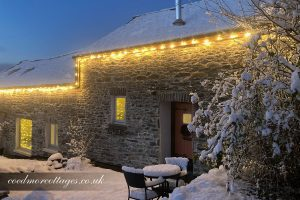 Woodpecker cottage in snow