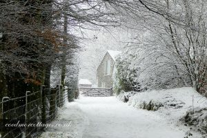 snowy cottage in Ceredigion